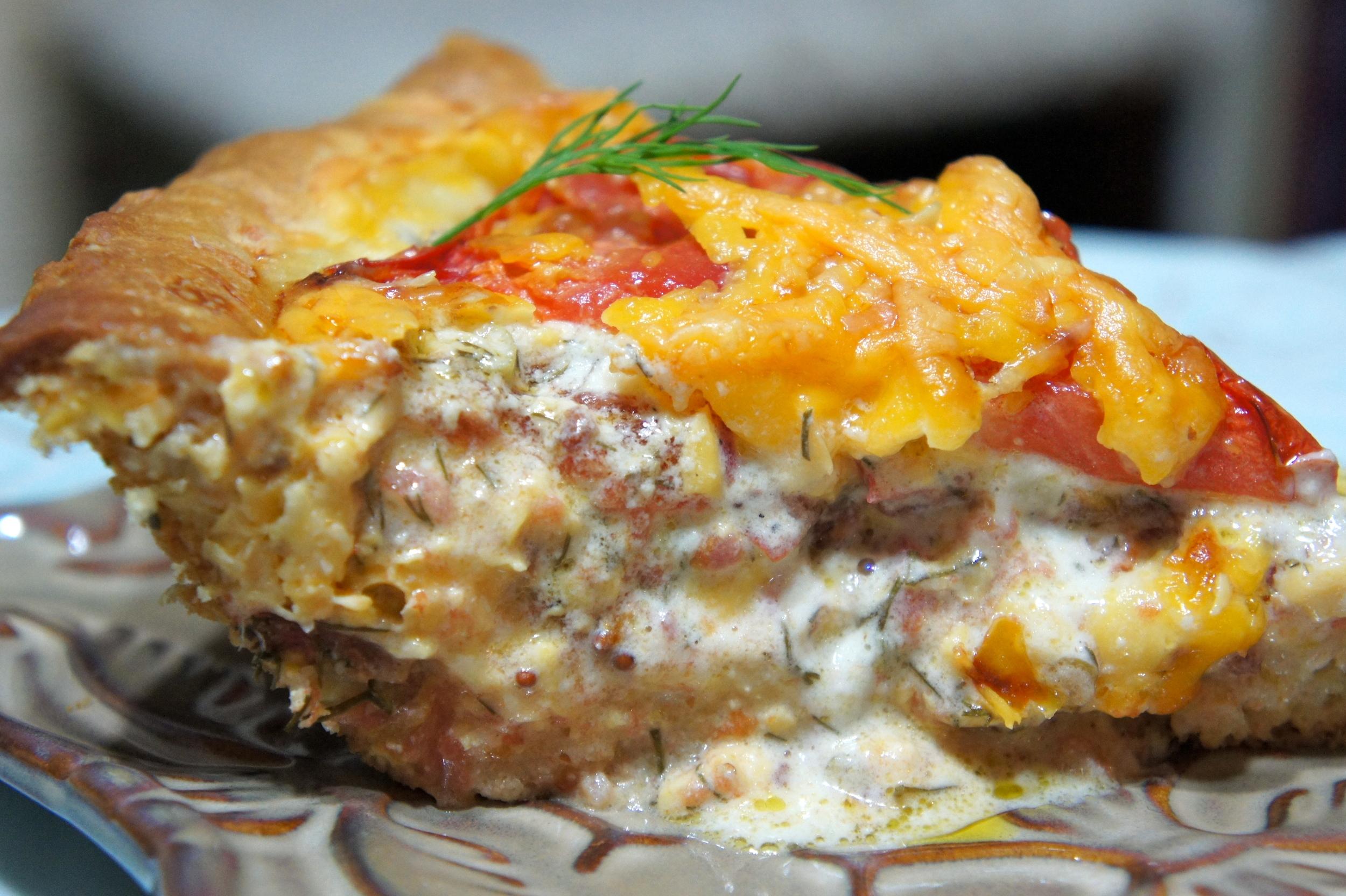 Tomato and Cheddar Pie slice shot