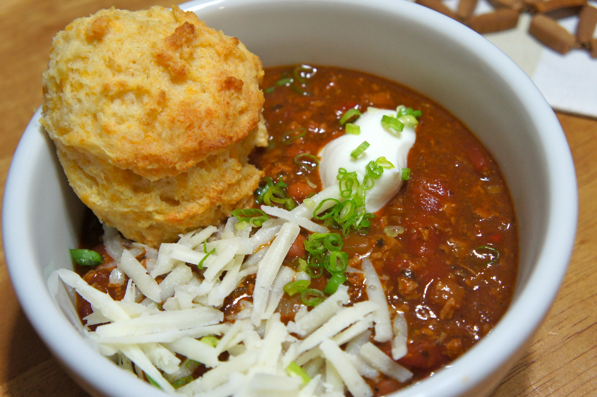 Meaty Vegetarian Chili with Cheddar Bay Biscuits