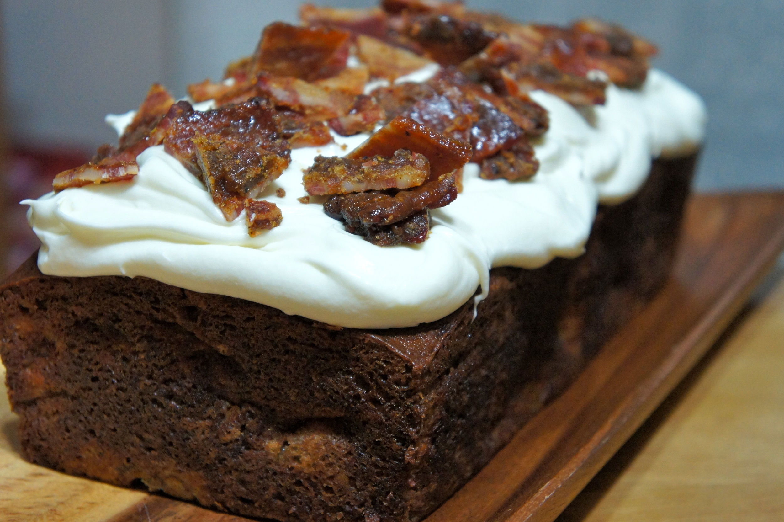 Ultimate Banana Bread with Cream Cheese Frosting and Candied Bacon