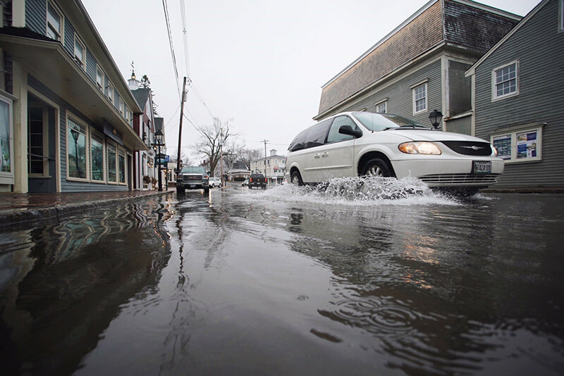(Kennebunkport, ME) Flooding events aren't just about clear sunny days. We have to think about the ways that storms, rain, and waves interact with the coast lines as sea levels rise as well.