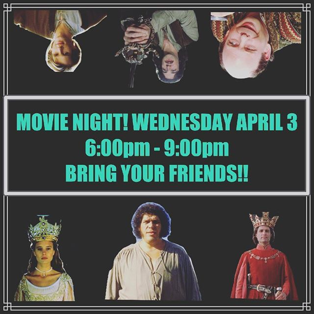 "Hello Crossview Students! Because of spring break, we are going to have this Wednesday (Tomorrow) be a movie night! We will be starting at 6:00pm and will wrap the night up at 9:00pm! If you don't already know by the picture, we will be watching the hilarious, heart-wrenching, truly fantastic movie ""The Princess Bride"" Bring your friends and bring your blankets!"