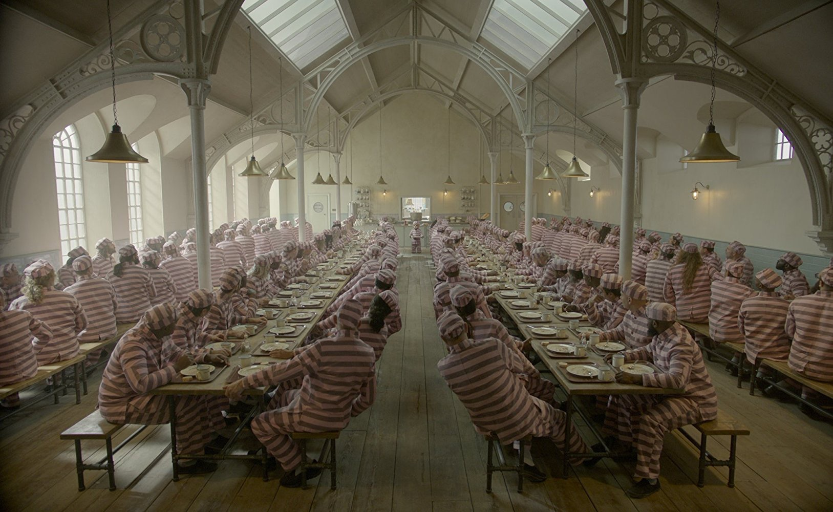 Paddington 2. Prison Canteen. Courtesy of Heyday Films. Production Design Gary Williamson. Set Decoration Cathy Cosgrove.