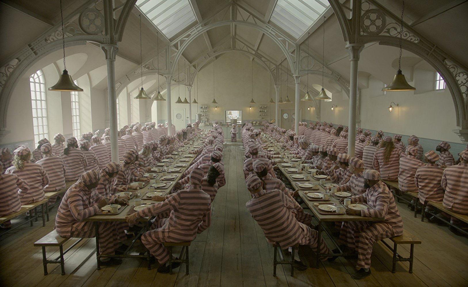 Paddington 2. Prison Canteen. Courtesy of Heyday Films.Production Design Gary Williamson. Set Decoration Cathy Cosgrove.