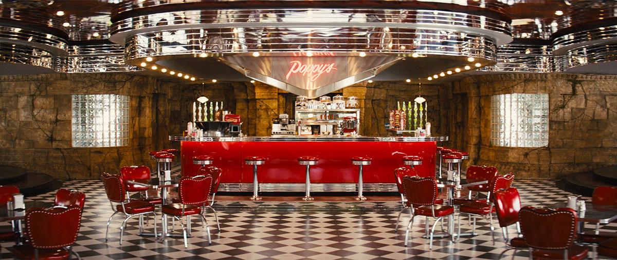 Kingsman:The Golden Circle. Poppy's Diner.Courtesy of MARV.Production Design Darren Gilford. Set Decoration Rosemary Brandenburg.