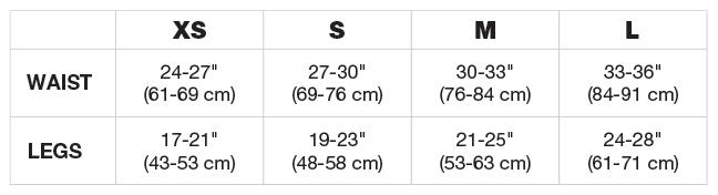 Women's Harness Size Chart