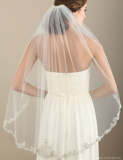V7331   1-tier fingertip veil with heavily beaded embroidery