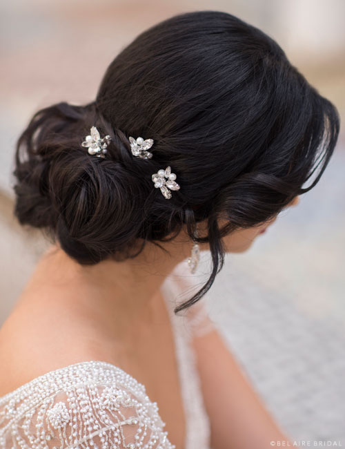 1722   Rhinestone and pearl hairpins