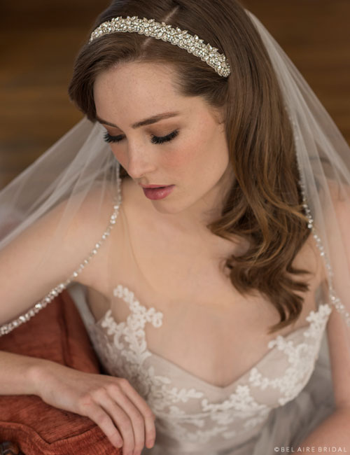 6658   Headband of rhinestone design with satin ties