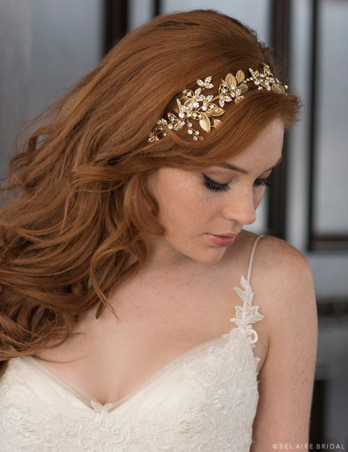 6676   Curving headband with metallic ribbon ties