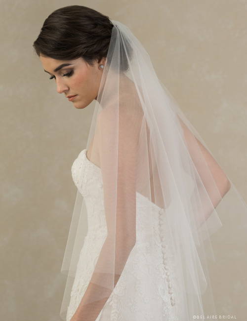 V7387   2-tier knee length foldover cut edge veil