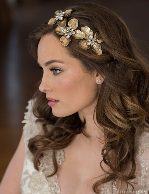 6687   Headband of three antique metal flowers