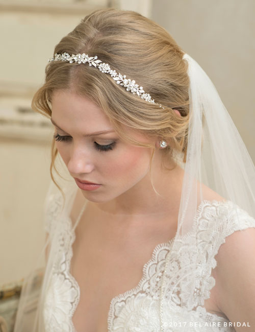 6793   Delicate floral leaf tie-headband
