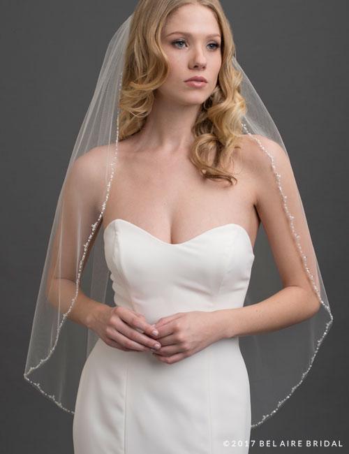 V7423   Narrow, delicate beaded edge veil