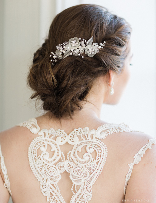 6727    Frosted flower headpiece with crystal accents