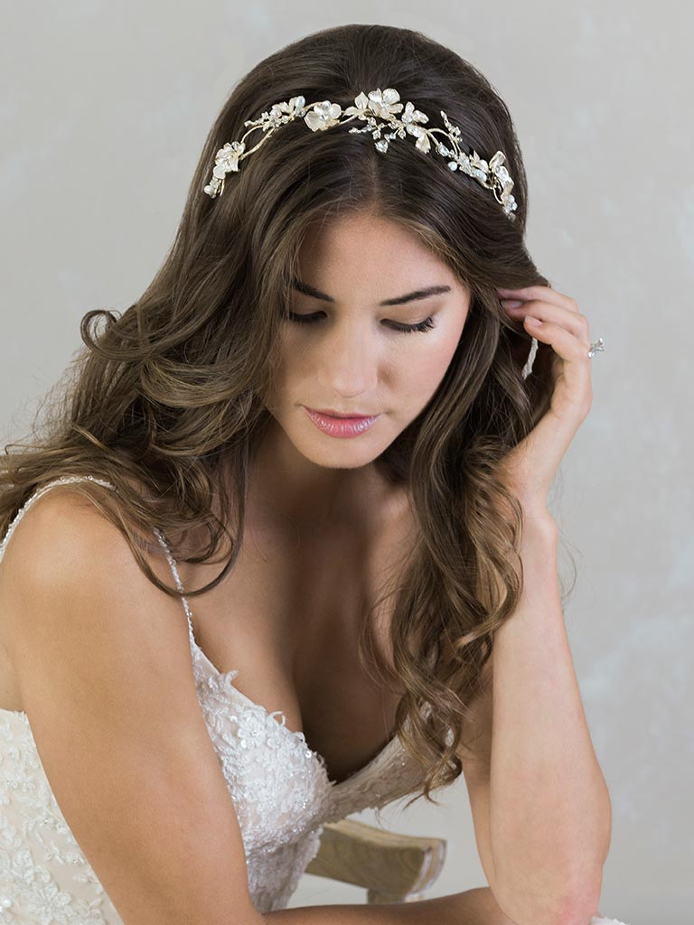 6800   Artistic headband of softly painted metal flowers and leaves