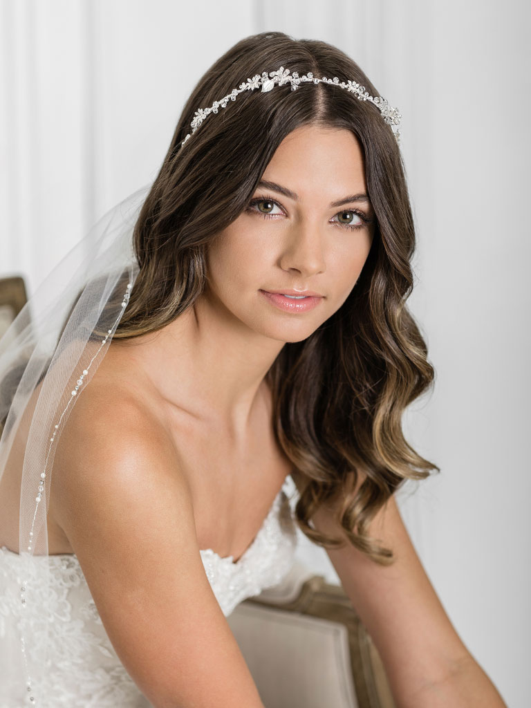 6927   Charming headband of dainty flowers and leaves accented with crystals
