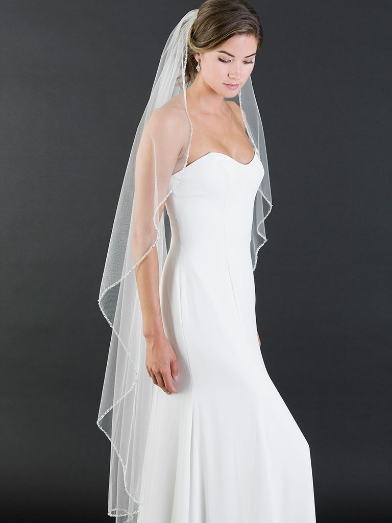 V7464   1-tier waltz length cascade veil with brilliant narrow beaded edge