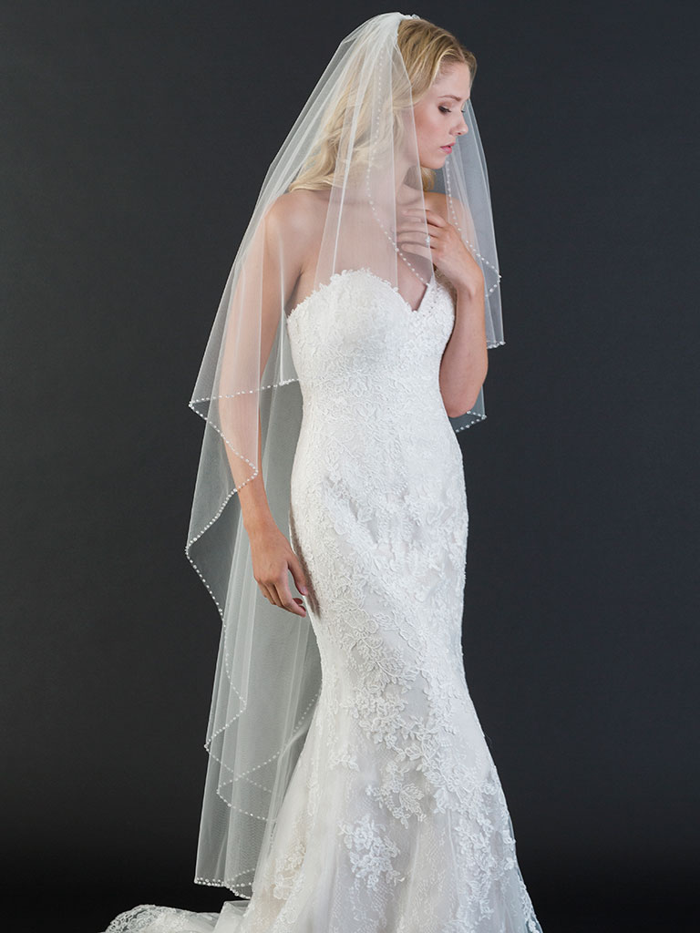 V7468   1-tier waltz length cascade veil with edge of sparkling crystals