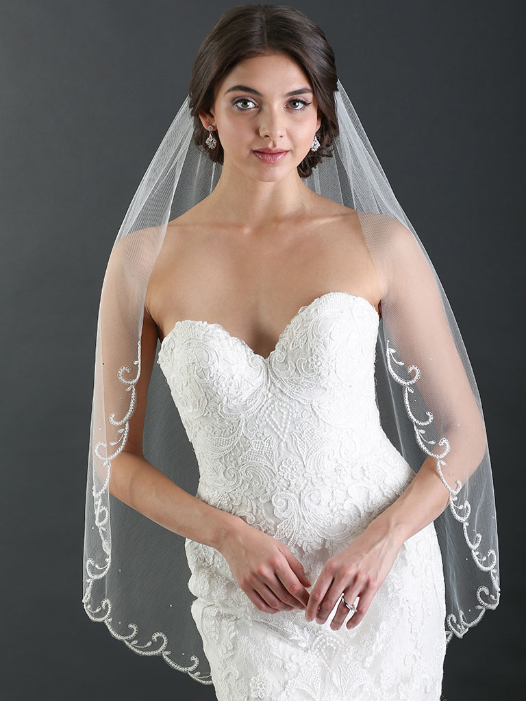 V7480   1-tier fingertip veil with scrolls of frosted bugle beads