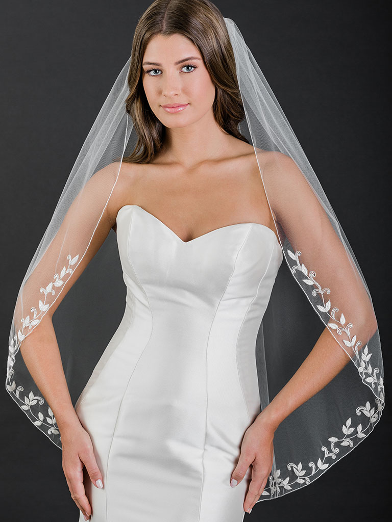 V7523   1-tier fingertip veil with beaded leaf embroidery