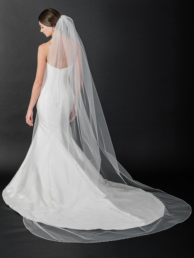 V7506C   Cathedral veil with sequin and bead edge