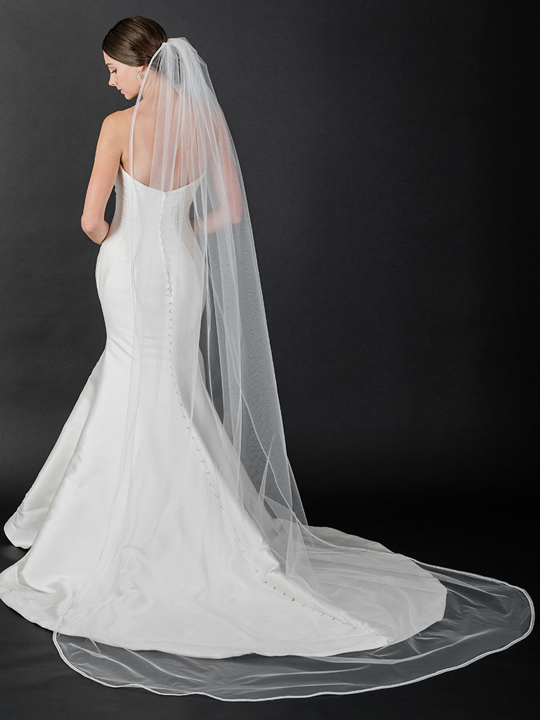 V7512C   Cathedral veil with horsehair and rhinestone edge