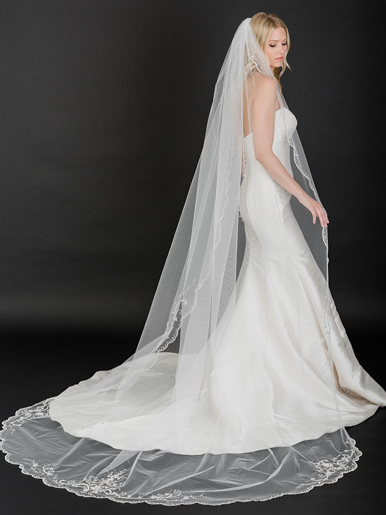 V7526C   Cathedral veil with intricate embroidered and beaded design
