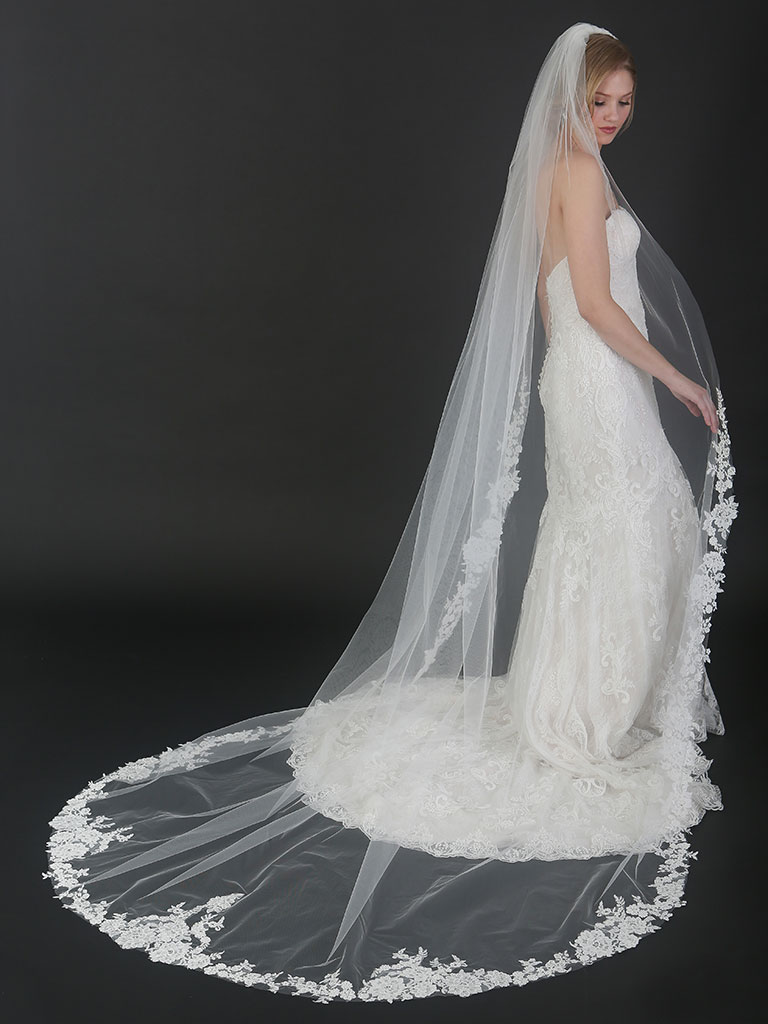 V7494C   1-tier cathedral veil with floral sequined lace