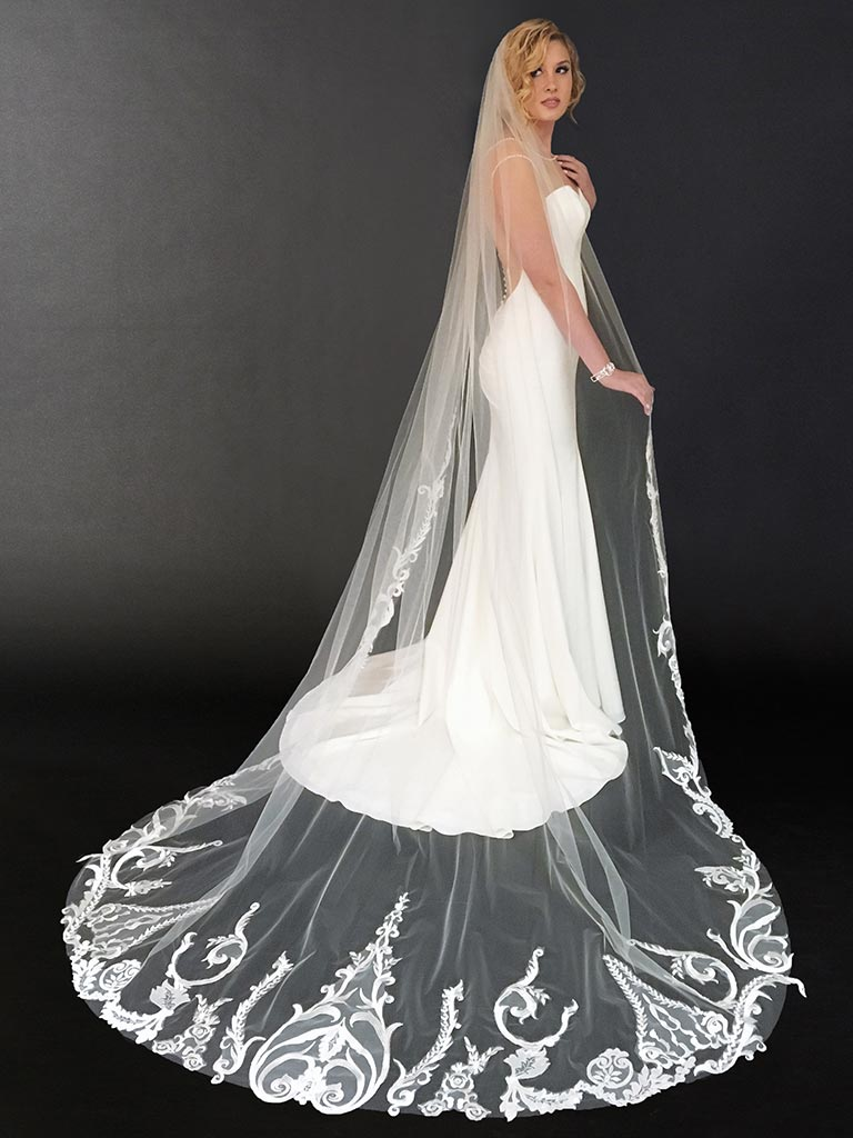 V7437C   1-tier cathedral veil with dramatic scroll and vine lace