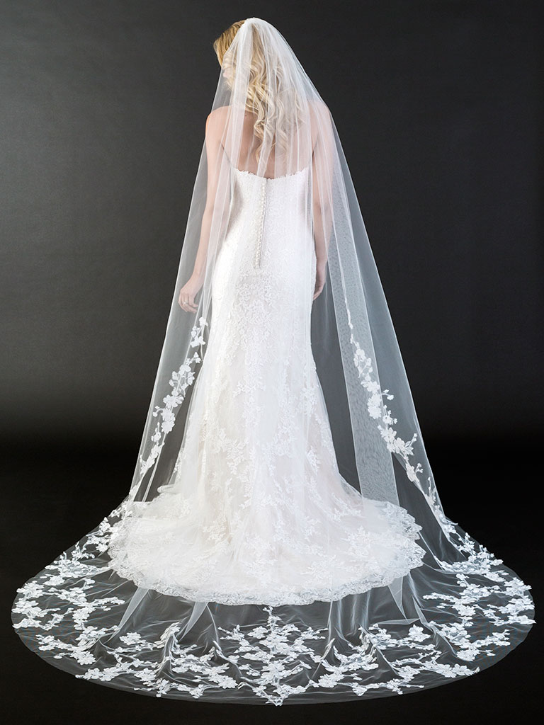 V7439C   Cathedral veil with rolled edge and dramatic floral lace