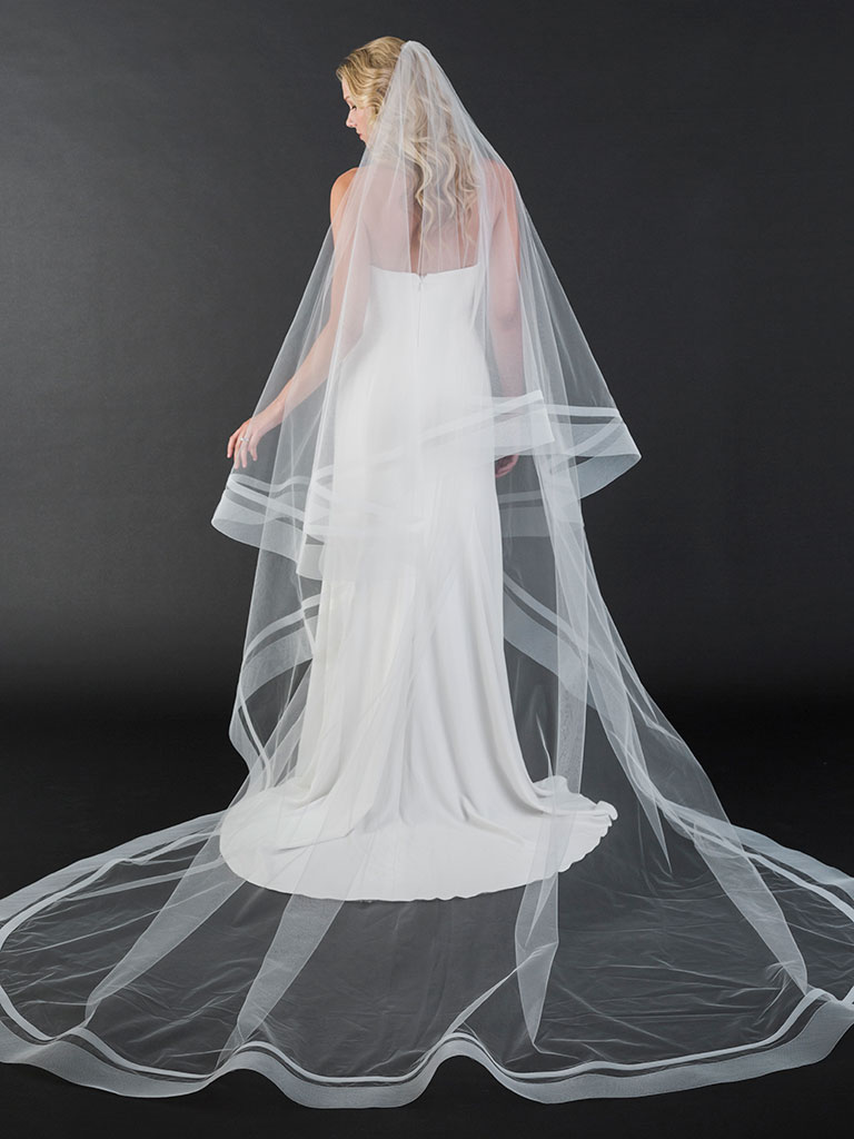 V7442C   Dramatic foldover cathedral veil with wide and medium horsehair at edge