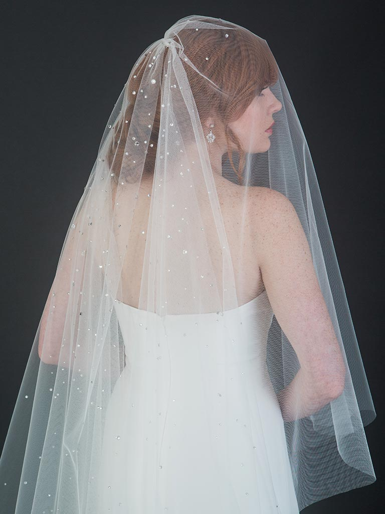 V7444C   Foldover cathedral veil with dramatic stardust rhinestone design