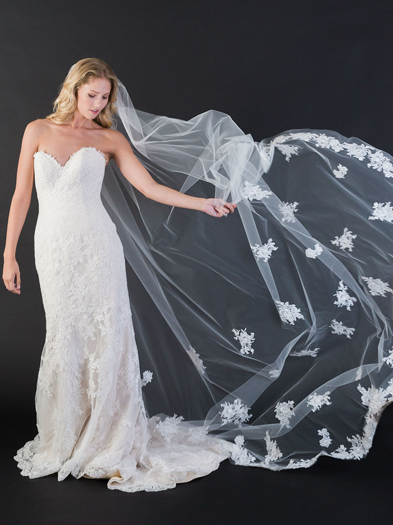 V7445C   1-tier cut edge cathedral veil with lace and scattered appliqués