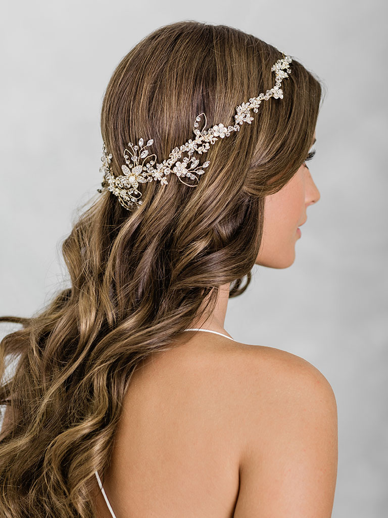 6920   Enchanting halo of tiny flowers accented with crystals, opals, and pearls