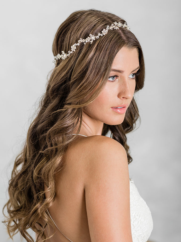6930   Enchanting halo of tiny flowers accented with crystals, opals, and pearls