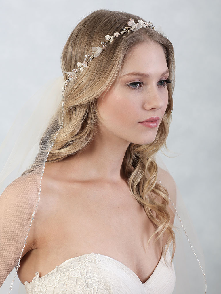 6844   Ethereal garland of tiny pearl leaves, beads, and organza petals