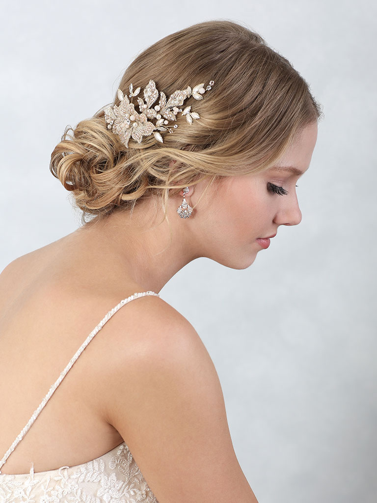 6859   Lovely clip of champagne embroidered and beaded petals