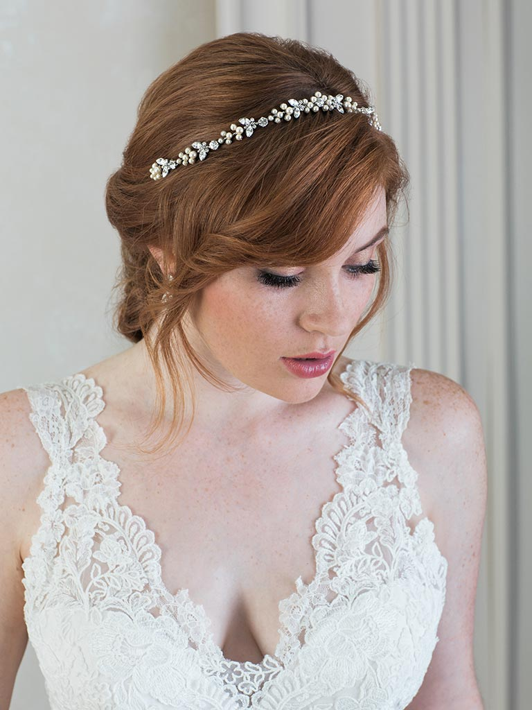 6808   Delicate contour headband/tiara of champagne pearls and rhinestones