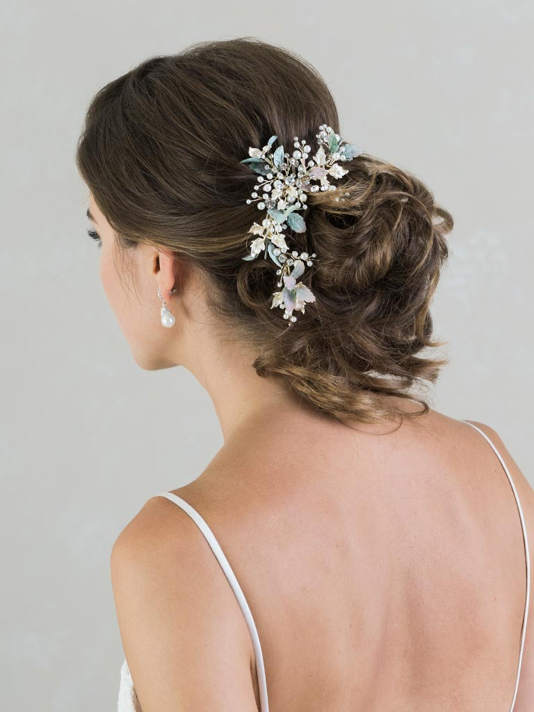 6832   Nature-inspired clip with greenery, pearls, and rhinestones