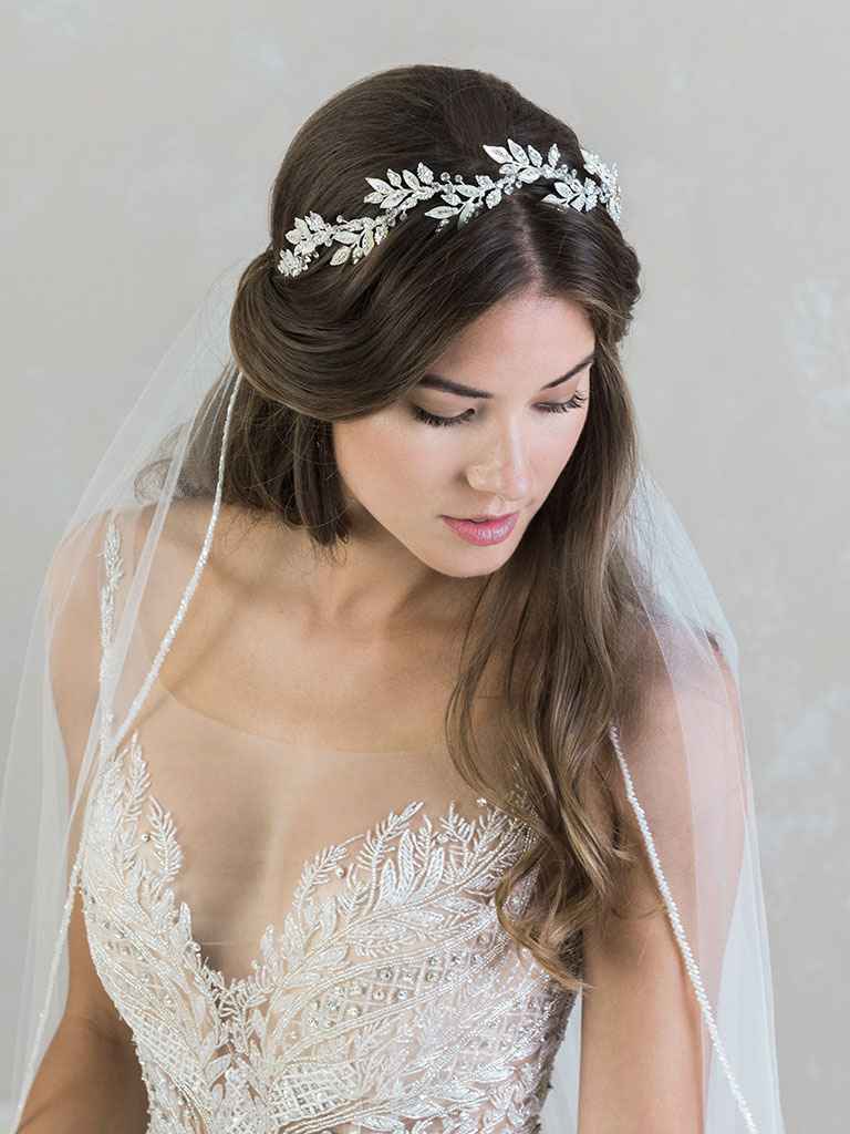 6821   Dramatic mother-of-pearl leaf headband with rhinestone accents