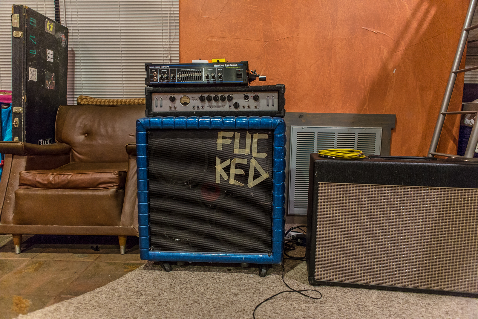 An amp in Borrisokane's practice space in South Austin.