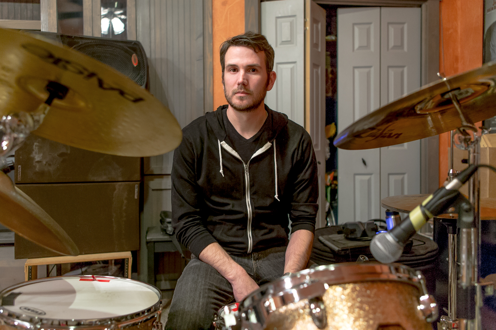 Josh Denslow inBorrisokane's practice space in South Austin.