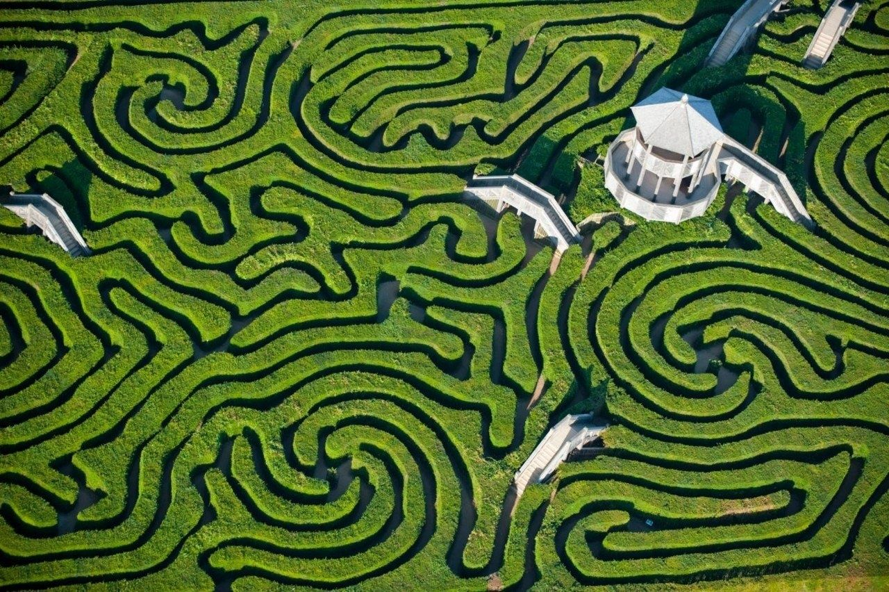 "Longleat Maze, England    Redefining the term ""English garden,"" the complexity of Longleat Maze can only be fully appreciated from above. (via)"