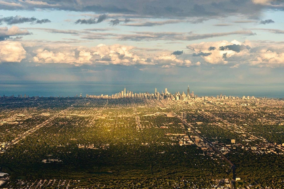 Chicago, USA    Chicago's skyline looks like the spine of a dragon on the edge of Lake Michigan. And keep in mind, the black tower to the right, the Willis Tower, is the eighth-tallest building in the world.