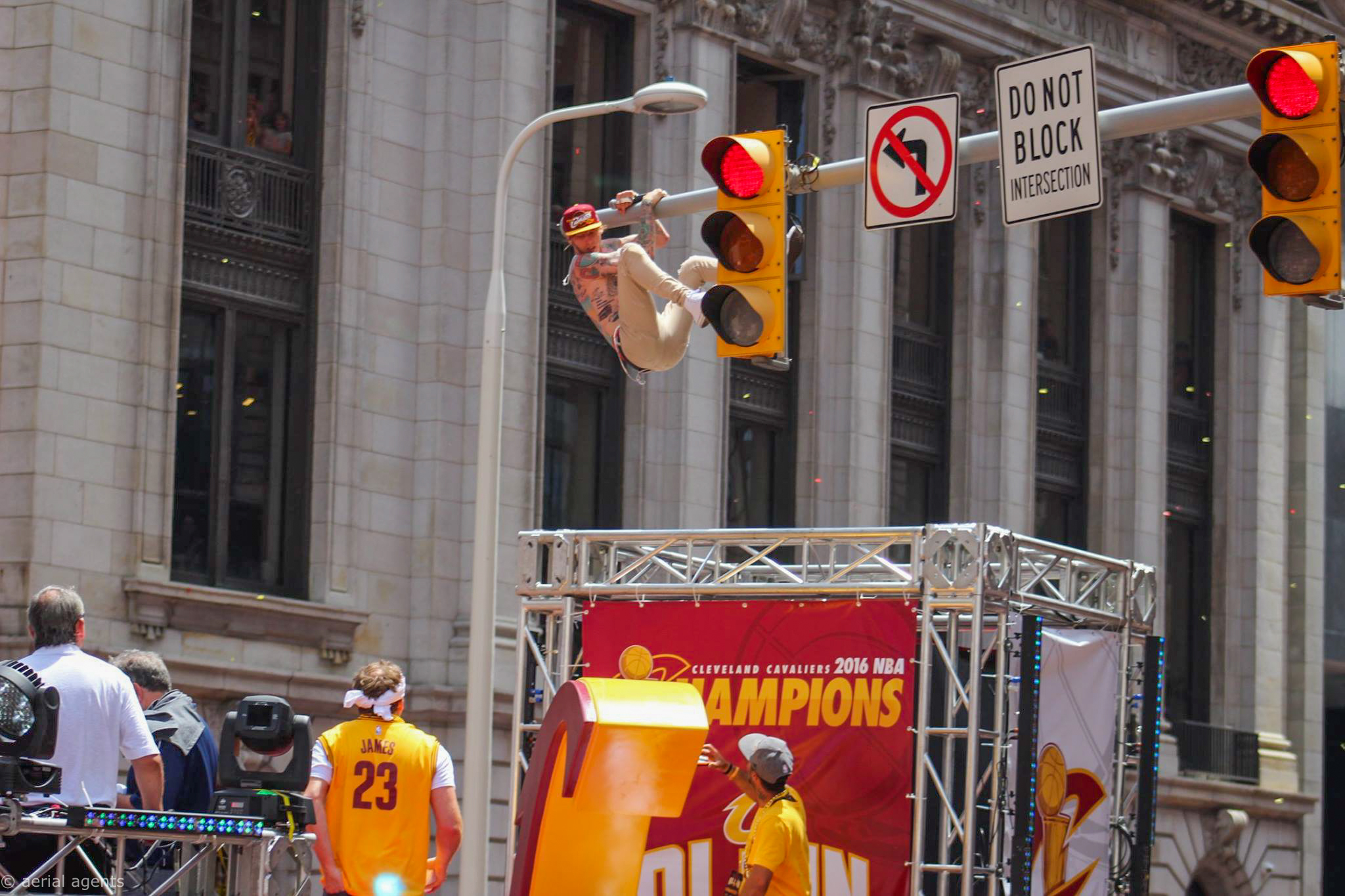Machine Gun Kelly getting wild at the Cavs Parade.