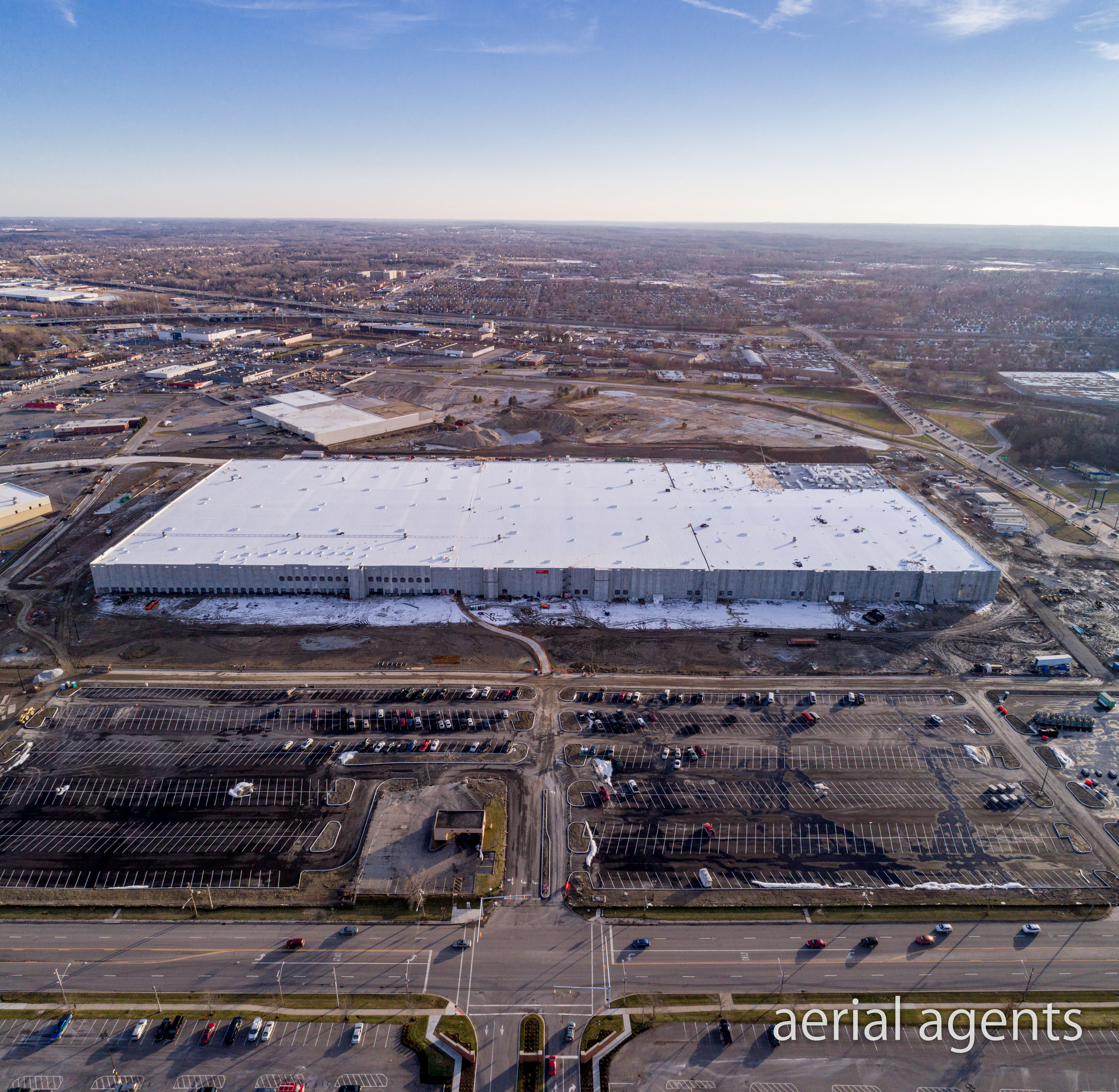 Aerial Photo of the NEW Amazon Fulfillment Center in North Randall, Ohio