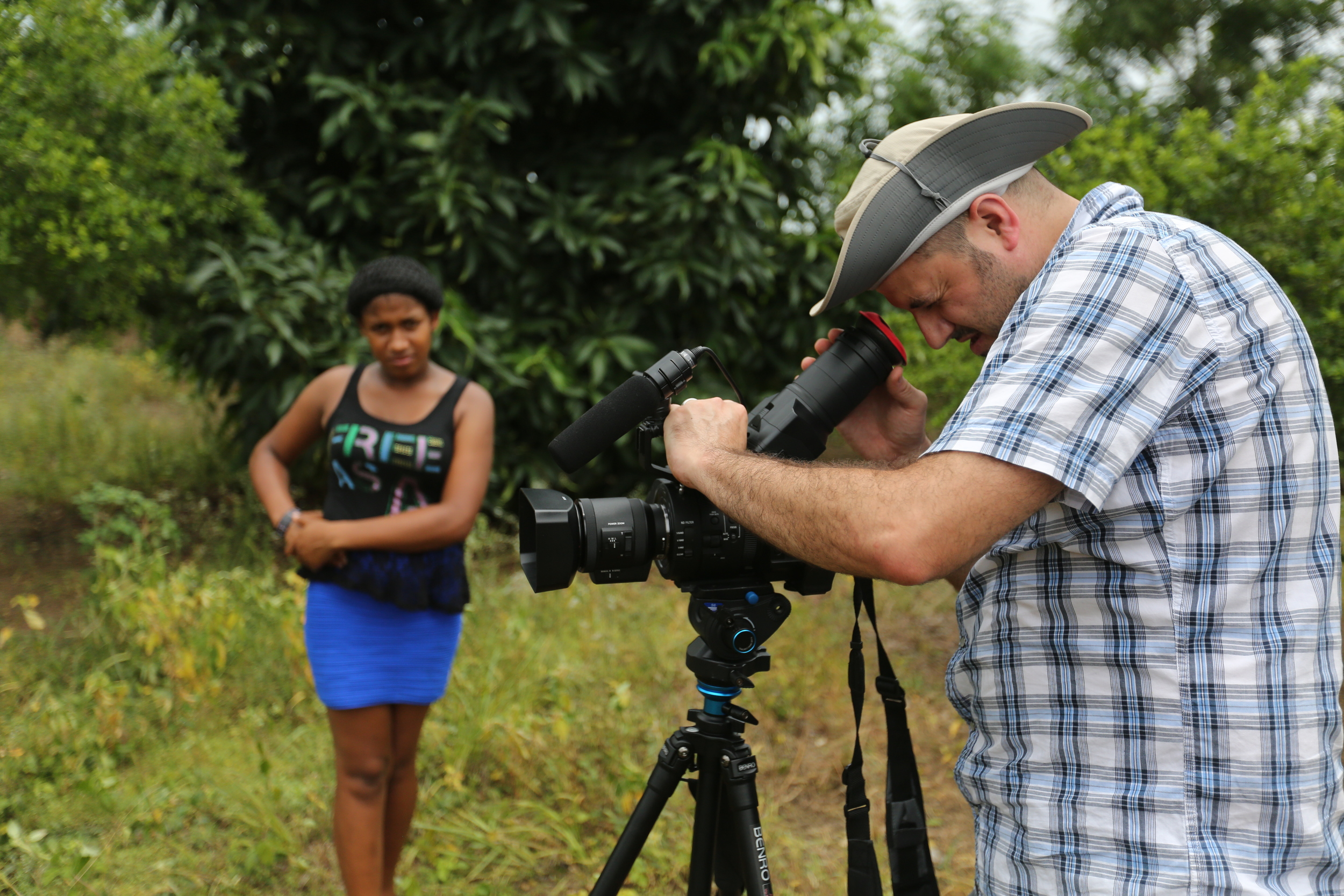 Shooting footage on a cherry farm outside of Santo Domingo, Dominican Republic.