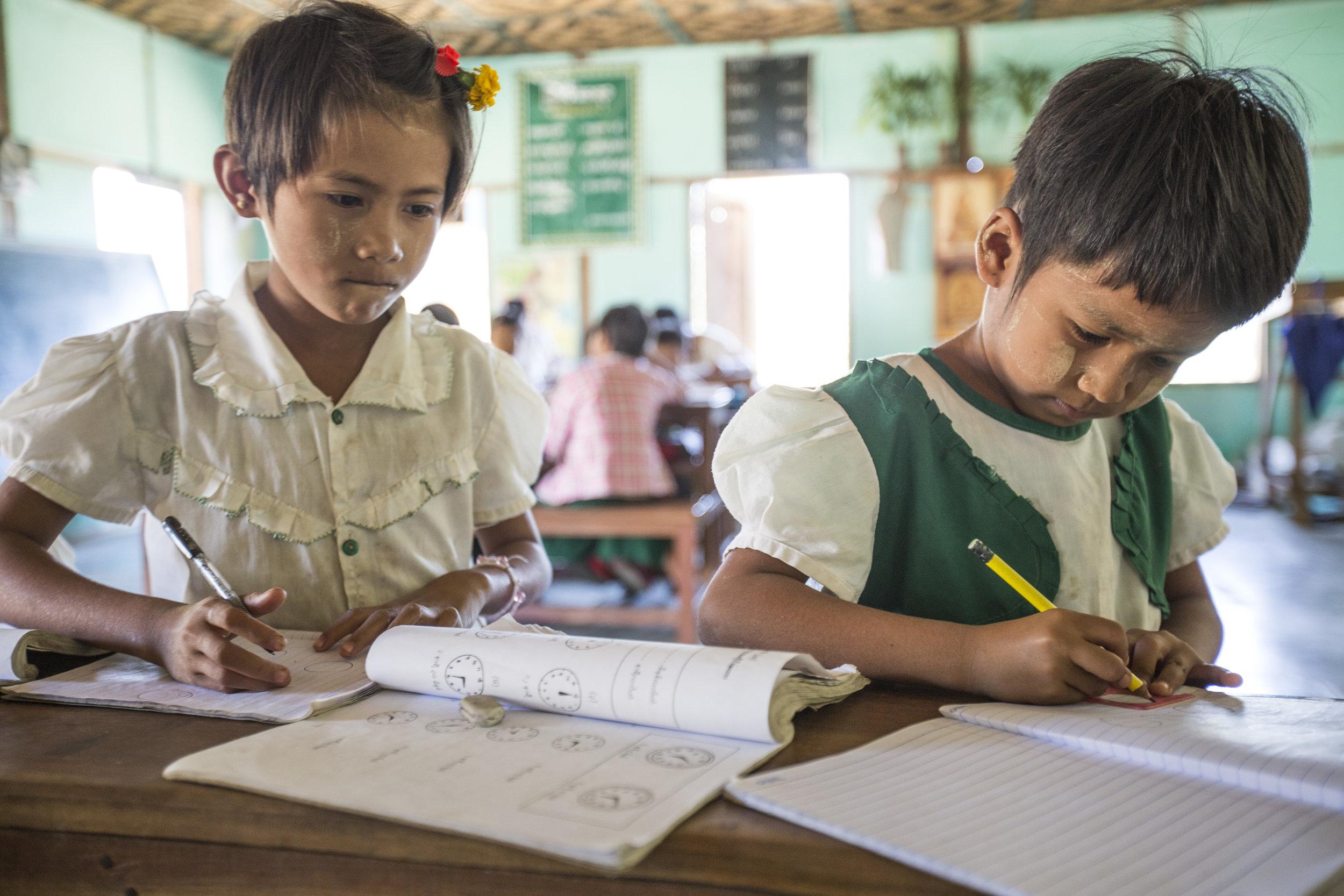 School children in Myanmar's dry zone.