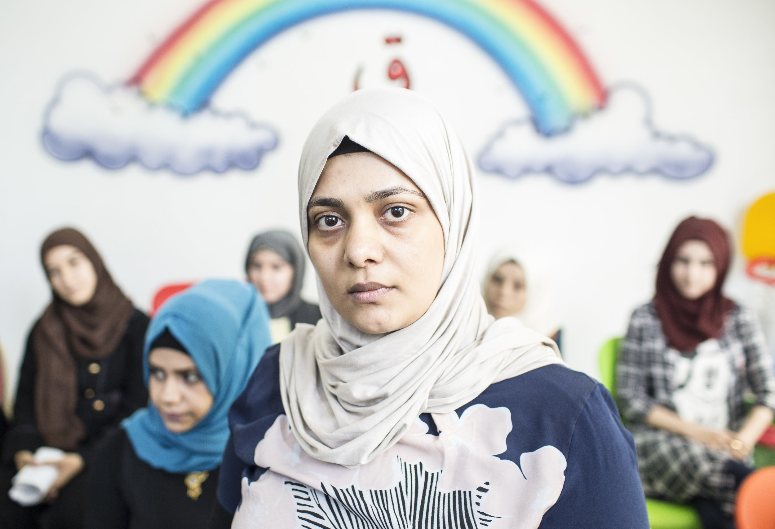"""Women at the """"I am Safe"""" community center in West Mosul."""