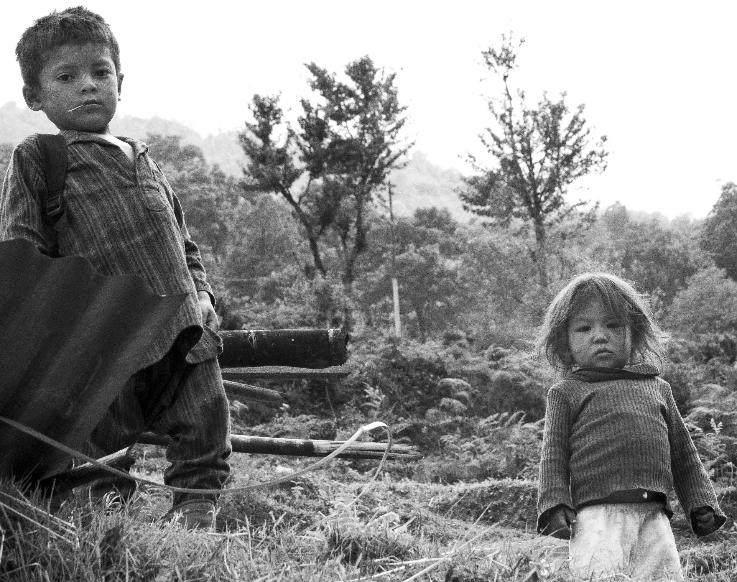 Children in the village of Kalinchowk in Nepal.